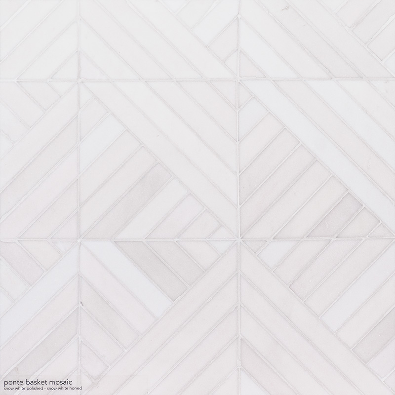 Snow White Multi Finish Ponte Marble Mosaics 36,4×36,4