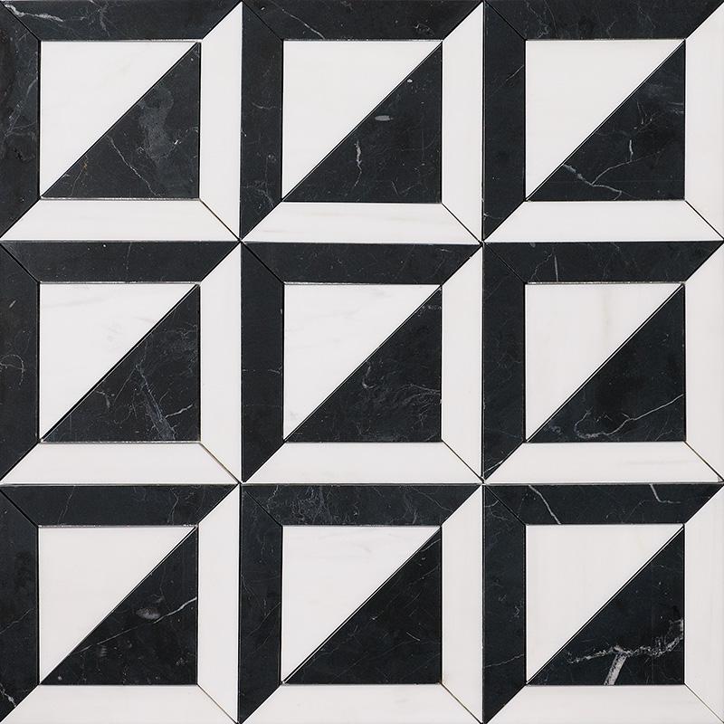 Black, Snow White Honed York Marble Mosaics 30,3×30,3