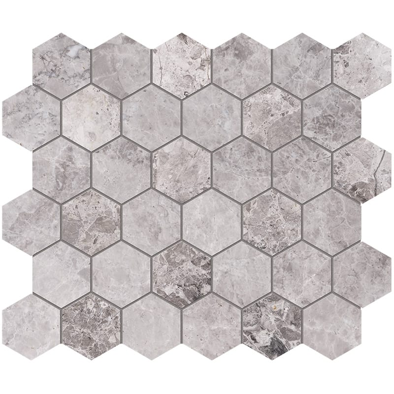 New Tundra Gray Polished Hexagon Marble Mosaics 26,5×31