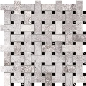 New Tundra Gray Polished Basket Weave Marble Mosaics 30,5x30,5