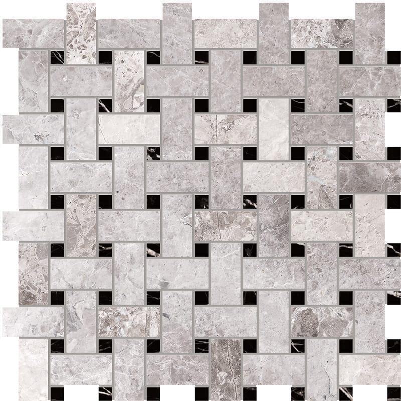 New Tundra Gray Polished Basket Weave Marble Mosaics 30,5×30,5
