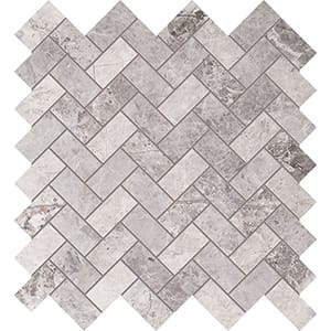 New Tundra Gray Polished Herringbone Marble Mosaics 30,5x33,5
