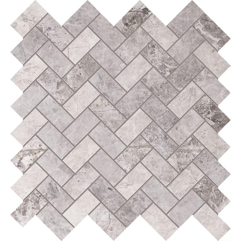 New Tundra Gray Polished Herringbone Marble Mosaics 30,5×33,5