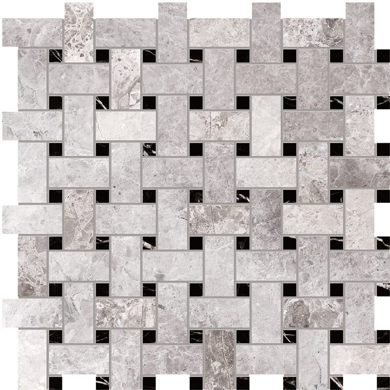 Tundra Gray Honed 30,5x30,5 Basket Weave Marble Mosaics