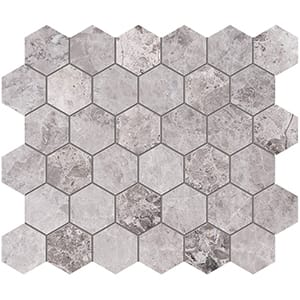 New Tundra Gray Honed Hexagon Marble Mosaics 26,5x31