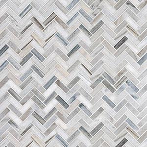 Skyline Polished Herringbone Marble Mosaics 30,5x33,5