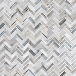 Skyline Honed Herringbone Marble Mosaics 30,5x33,5