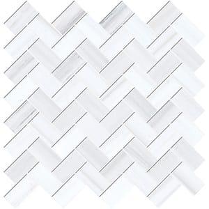 Bianco Dolomiti Classic Polished Herringbone Marble Mosaics 30,5x33,5