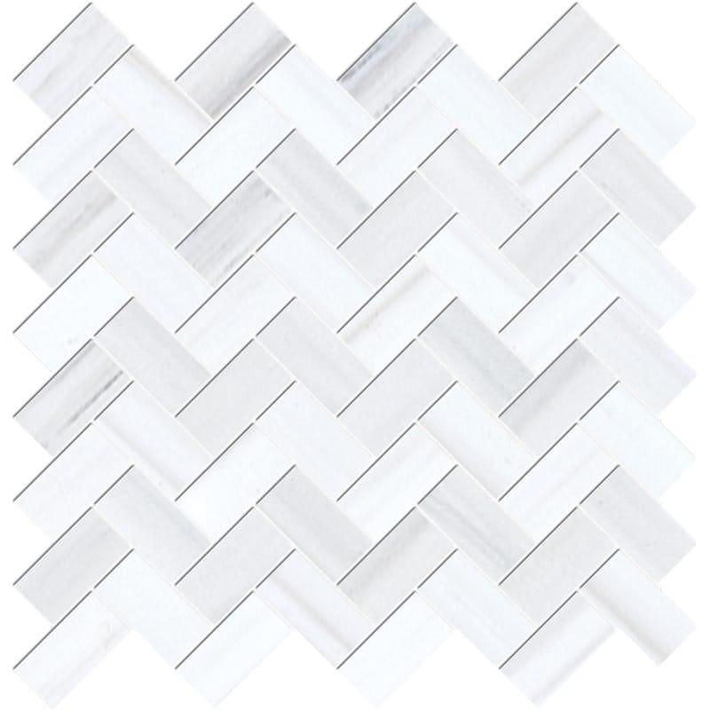 Bianco Dolomiti Classic Polished Herringbone Marble Mosaics 30,5×33,5