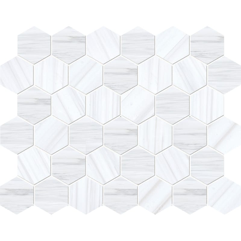 Bianco Dolomiti Classic Polished Hexagon Marble Mosaics 26,5×31