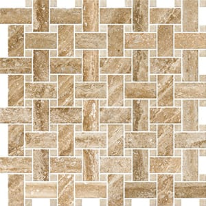 Mahogany Vein Cut Honed&filled Basket Weave Travertine Mosaics 30,5x30,5