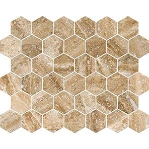 Mahogany Vein Cut Honed&filled Hexagon Travertine Mosaics 26,5x31