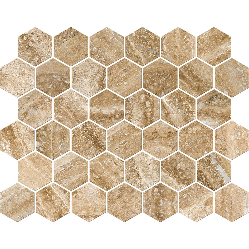 Mahogany Vein Cut Honed&filled Hexagon Travertine Mosaics 26,5x31