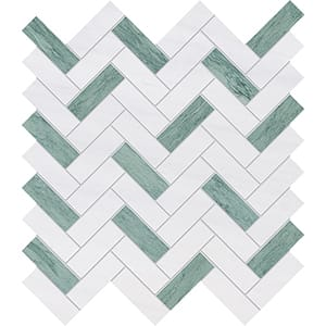 Verde Capri, Snow White Honed Herringbone Marble Mosaics 30,5x33,5