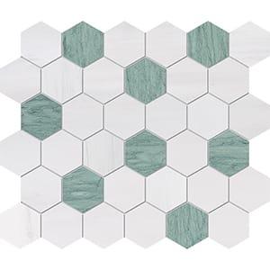 Verde Capri, Snow White Honed Hexagon Marble Mosaics 26,5x31