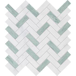 Verde Capri, Avalon Leather Herringbone Marble Mosaics 30,5x33,5