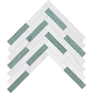 Verde Capri, Snow White Honed Large Herringbone Marble Mosaics 32,70x21,74