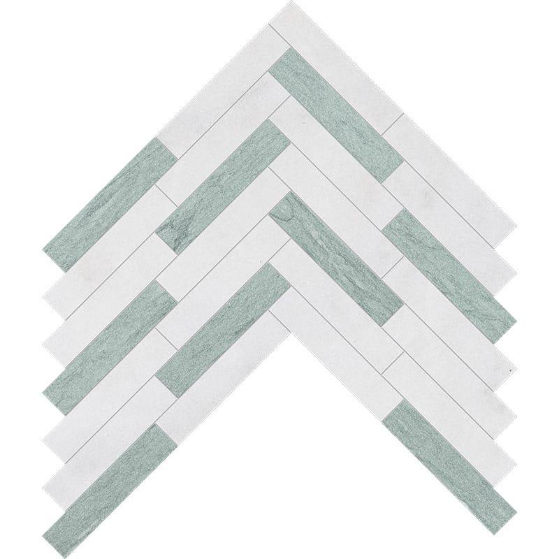 Verde Capri, Glacier Multi Finish Large Herringbone Marble Mosaics 32,70×21,74