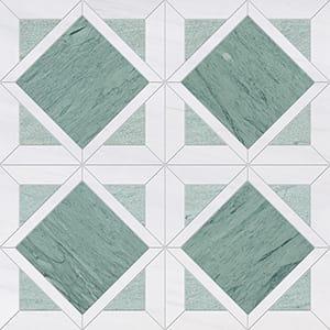 Verde Capri, Snow White Multi Finish Kent Marble Mosaics 33,60x33,60