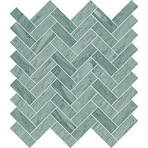 Verde Capri Honed Herringbone Marble Mosaics 30,5x33,5
