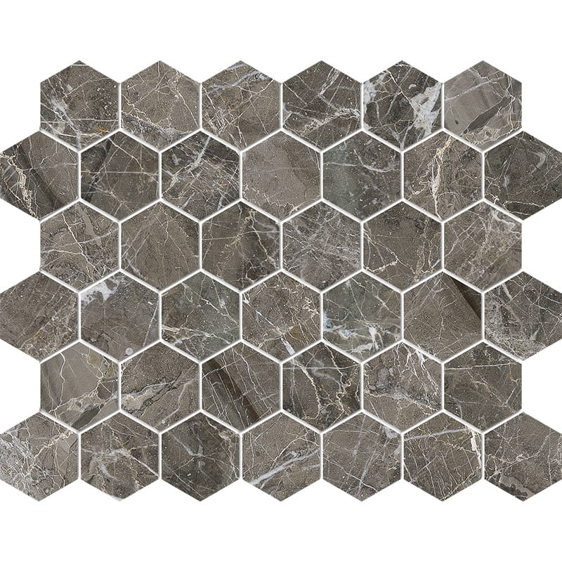 Arctic Gray Polished Hexagon Marble Mosaics 26,5x31