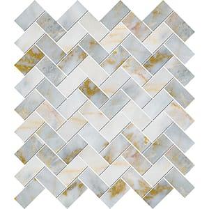 Calacatta Fusion Polished Herringbone Marble Mosaics 30,5x33,5