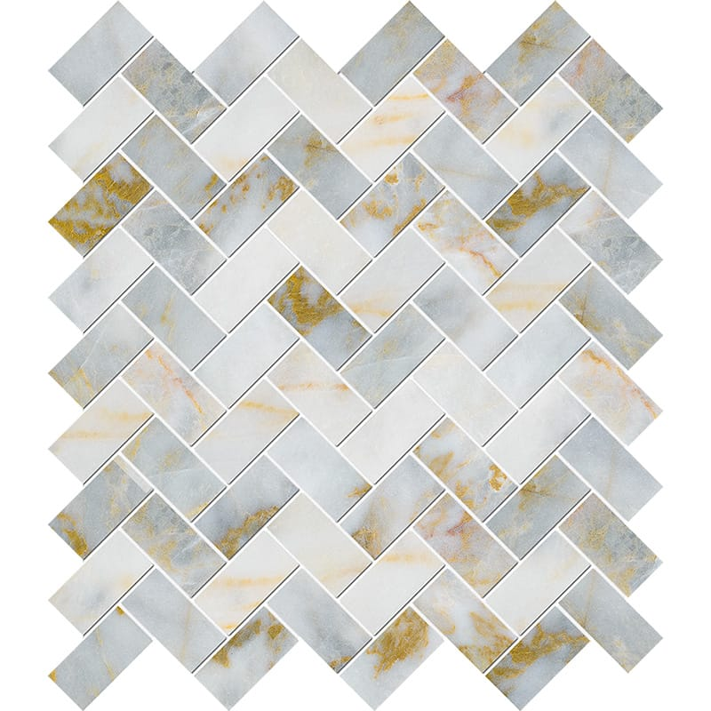 Calacatta Fusion Polished Herringbone Marble Mosaics 30,5×33,5