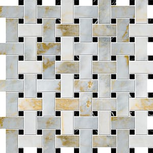 Calacatta Fusion Polished Basket Weave Marble Mosaics 30,5x30,5
