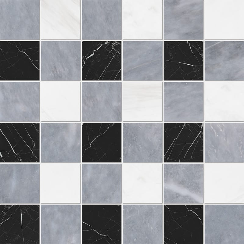 Allure Light, Snow White, Black Honed 2x2 Marble Mosaics 30,5x30,5