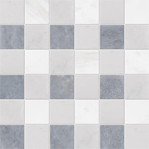 Allure Light, Snow White, Glacier Honed 5x5 Marble Mosaics 30,5x30,5