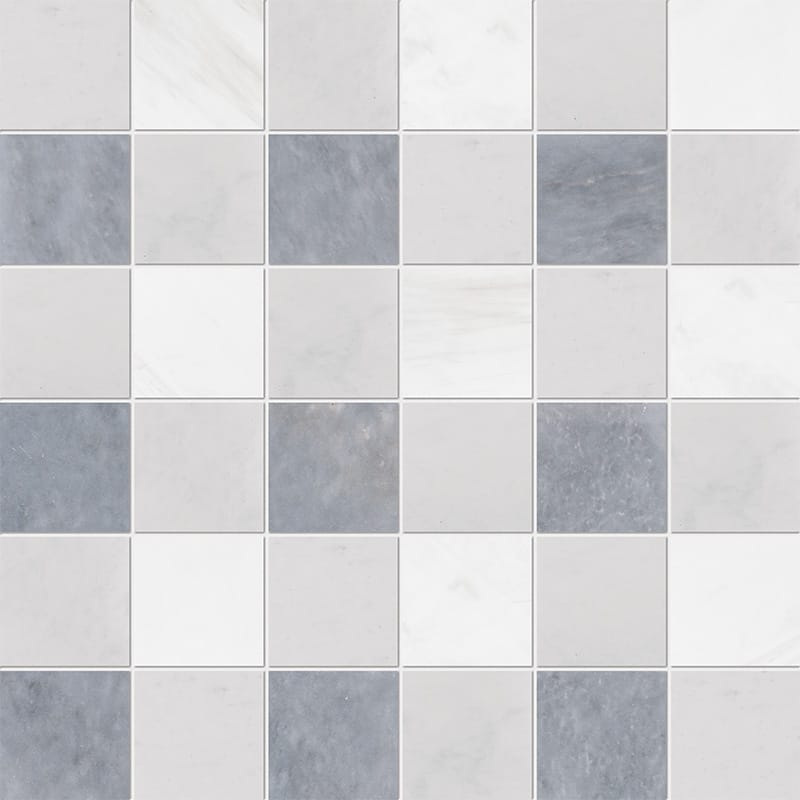 Allure Light, Snow White, Glacier Honed 2x2 Marble Mosaics 30,5x30,5