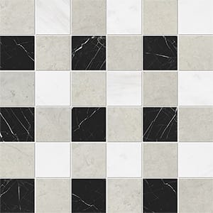 Britannia Light, Snow White, Black Honed 5x5 Marble Mosaics 30,5x30,5