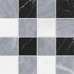 Allure Light, Snow White, Black Honed 10x10 Marble Mosaics 40,6x40,6
