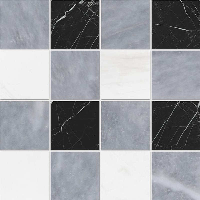 Allure Light, Snow White, Black Honed 4x4 Marble Mosaics 40,6x40,6