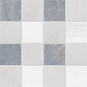 Allure Light, Snow White, Glacier Honed 10x10 Marble Mosaics 40,6x40,6