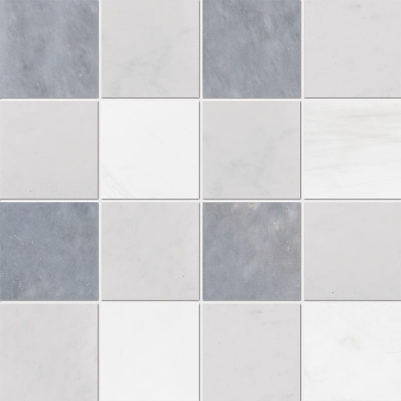 Allure Light, Snow White, Glacier Honed 4×4 Marble Mosaics 40,6×40,6