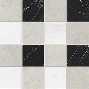Britannia Light, Snow White, Black Honed 10x10 Marble Mosaics 40,6x40,6