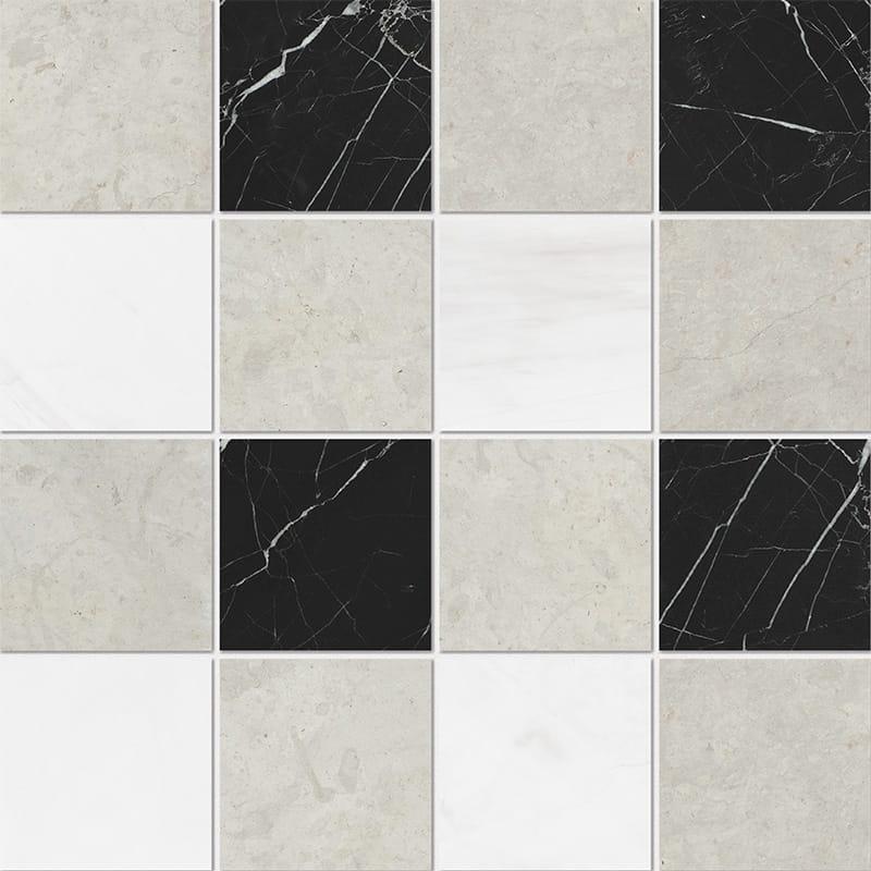 Britannia Light, Snow White, Black Honed 4×4 Marble Mosaics 40,6×40,6
