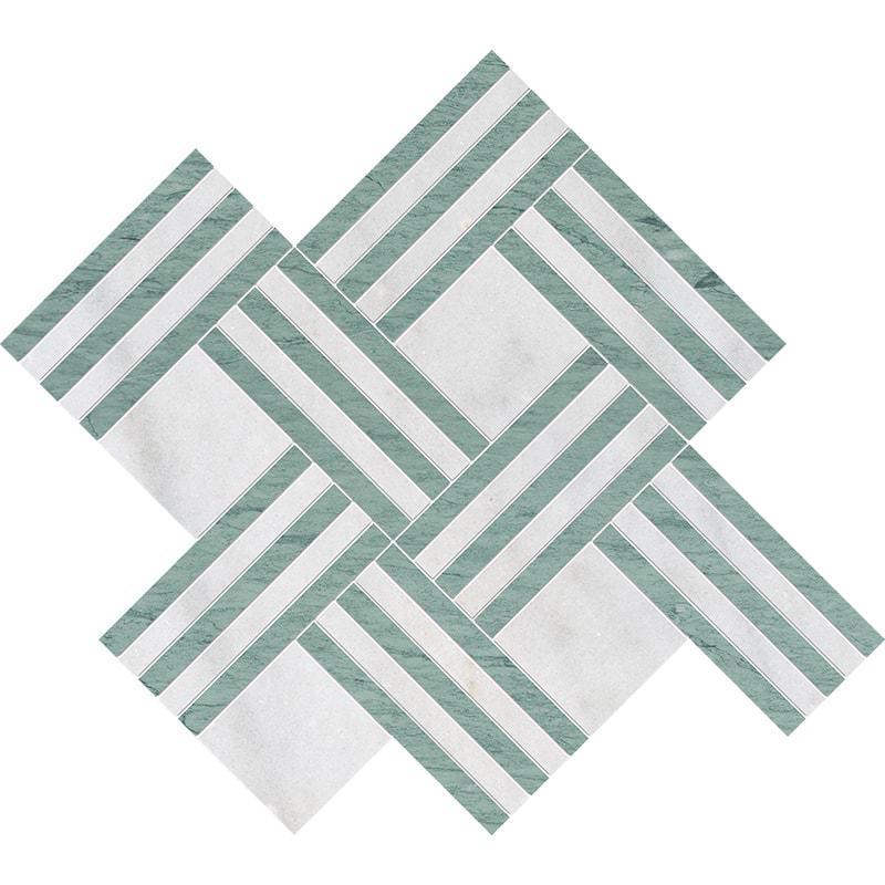 Avalon, Verde Capri Multi Finish Maze Basket Marble Mosaics 38×45