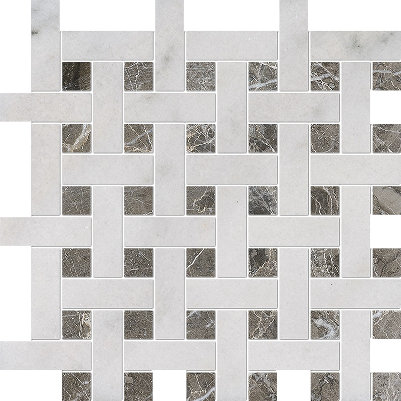 Avalon, Silver Drop Polished Basket Weave 1×3 Marble Mosaics 32×32