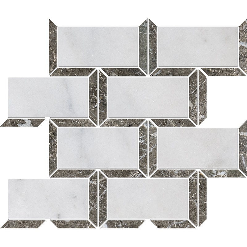 Avalon, Silver Drop Polished Cascade Marble Mosaics 24,5×30