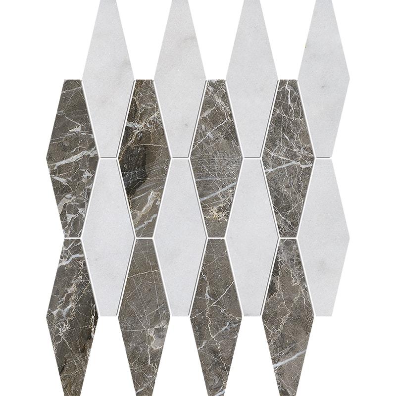 Avalon, Silver Drop Polished Rhomboid Blend Marble Mosaics 28×38
