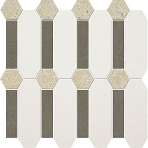Champagne, Bosphorus, Seashell Honed Pillar Limestone Mosaics 33x33
