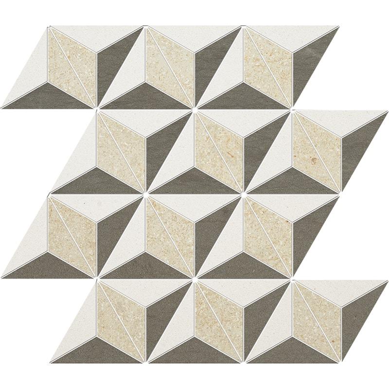 Champagne, Seashell, Bosphorus Honed Diamond 3d Limestone Mosaics 39×35