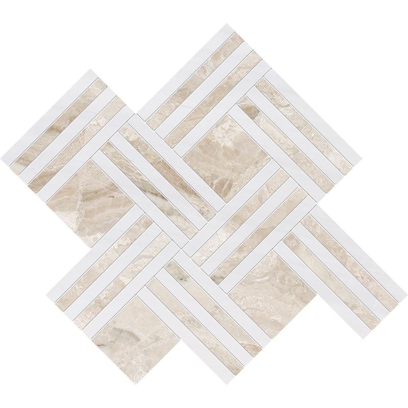 Diana Royal, Snow White Multi Finish Maze Basket Marble Mosaics 38×45