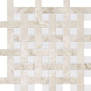 Diana Royal, Snow White Multi Finish Basket Weave 1x3 Marble Mosaics 32x32