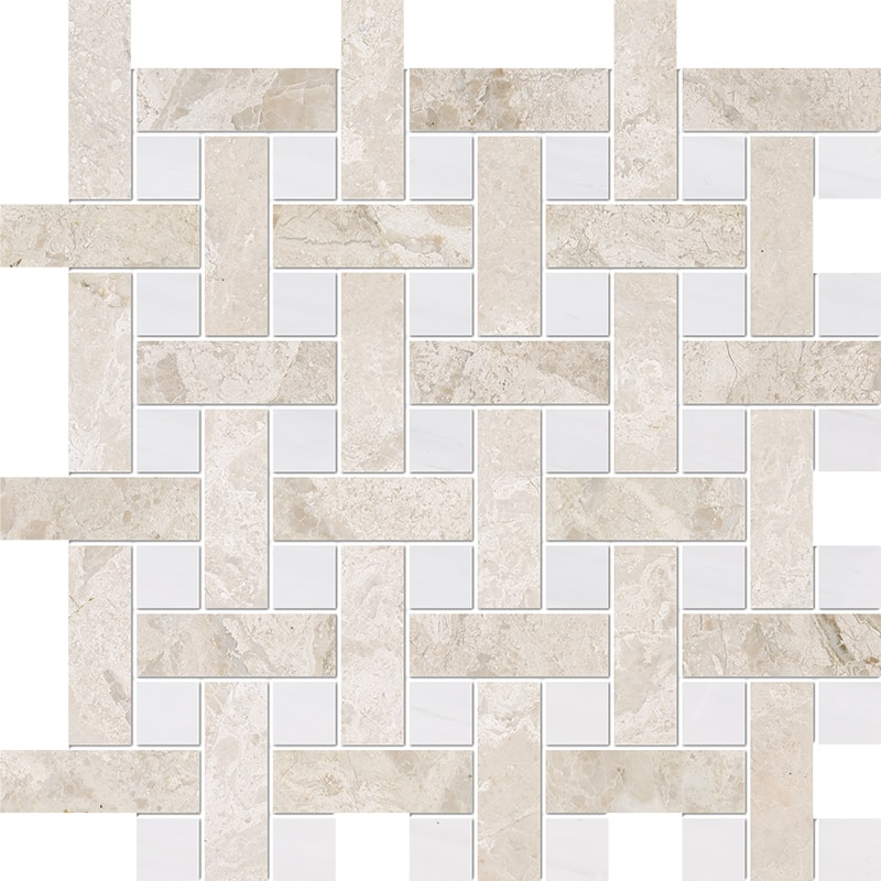 Diana Royal, Snow White Multi Finish Basket Weave 1×3 Marble Mosaics 32×32
