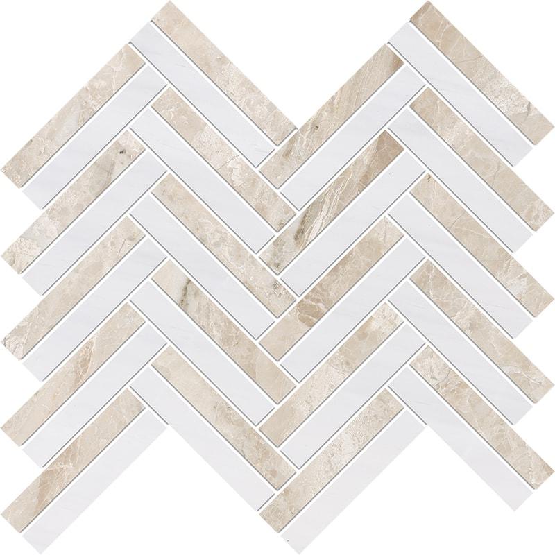 Diana Royal, Snow White Multi Finish Raya Basket Marble Mosaics 30×31