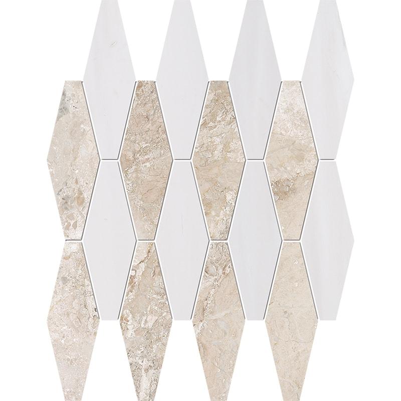 Diana Royal, Snow White Multi Finish Rhomboid Blend Marble Mosaics 28×38