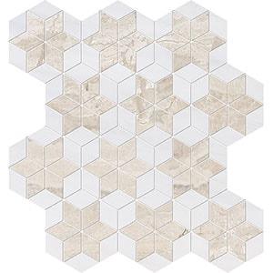 Diana Royal, Snow White Multi Finish Stars Marble Mosaics 36x38
